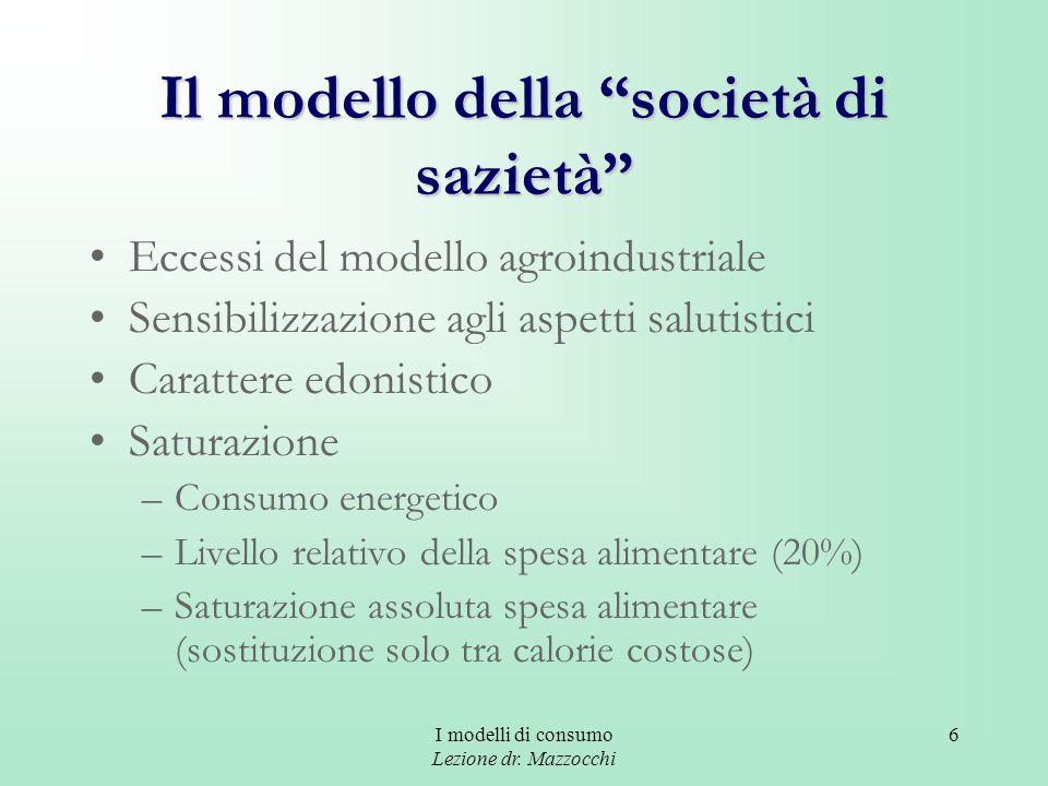 I modelli di consumo Lezione dr. Mazzocchi 6 Il modello della società di sazietà Eccessi del modello agroindustriale Sensibilizzazione agli aspetti sa