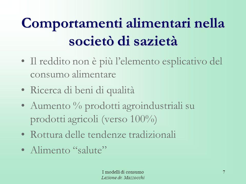 I modelli di consumo Lezione dr. Mazzocchi 7 Comportamenti alimentari nella societò di sazietà Il reddito non è più lelemento esplicativo del consumo
