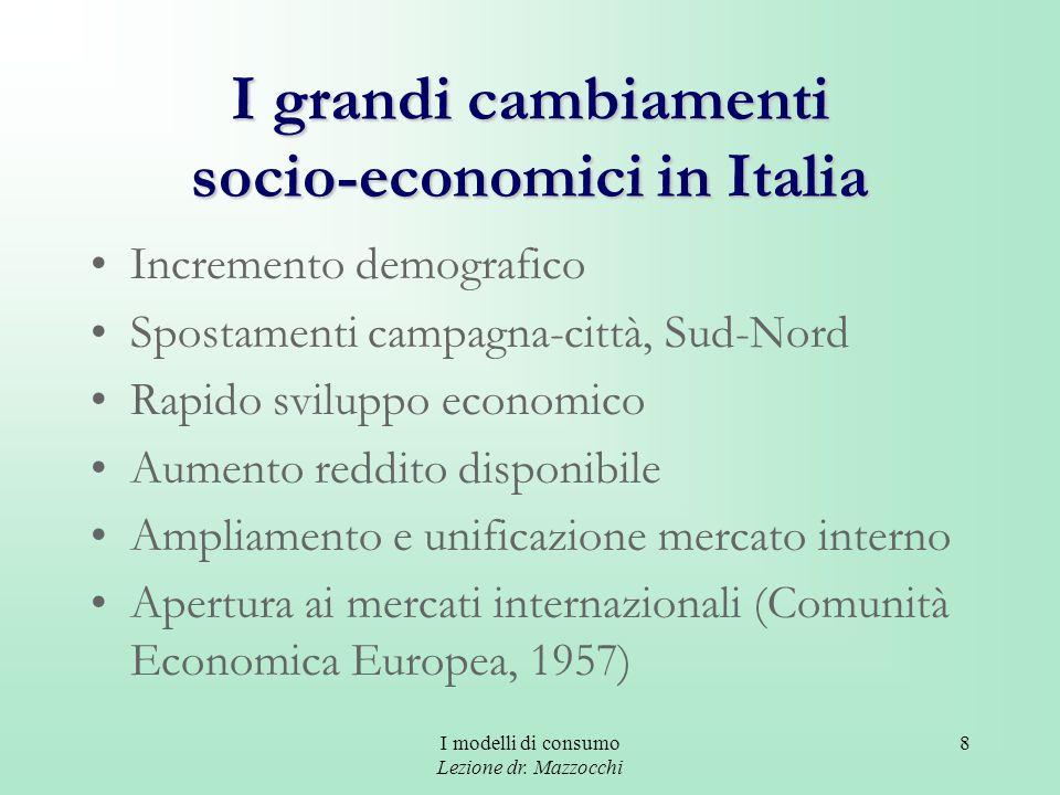 I modelli di consumo Lezione dr. Mazzocchi 8 I grandi cambiamenti socio-economici in Italia Incremento demografico Spostamenti campagna-città, Sud-Nor