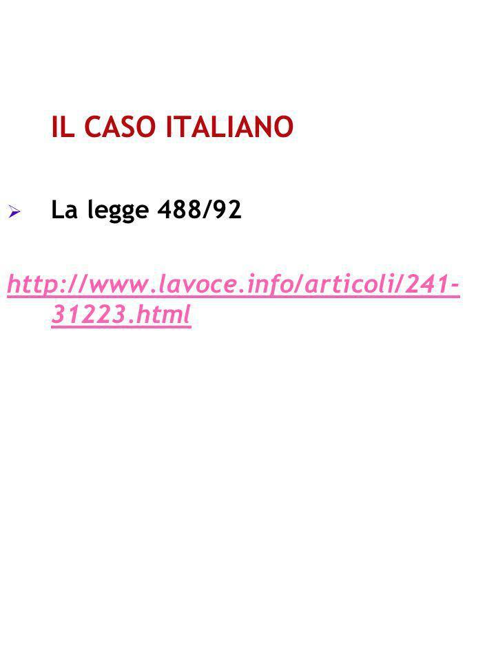 IL CASO ITALIANO La legge 488/92 http://www.lavoce.info/articoli/241- 31223.html