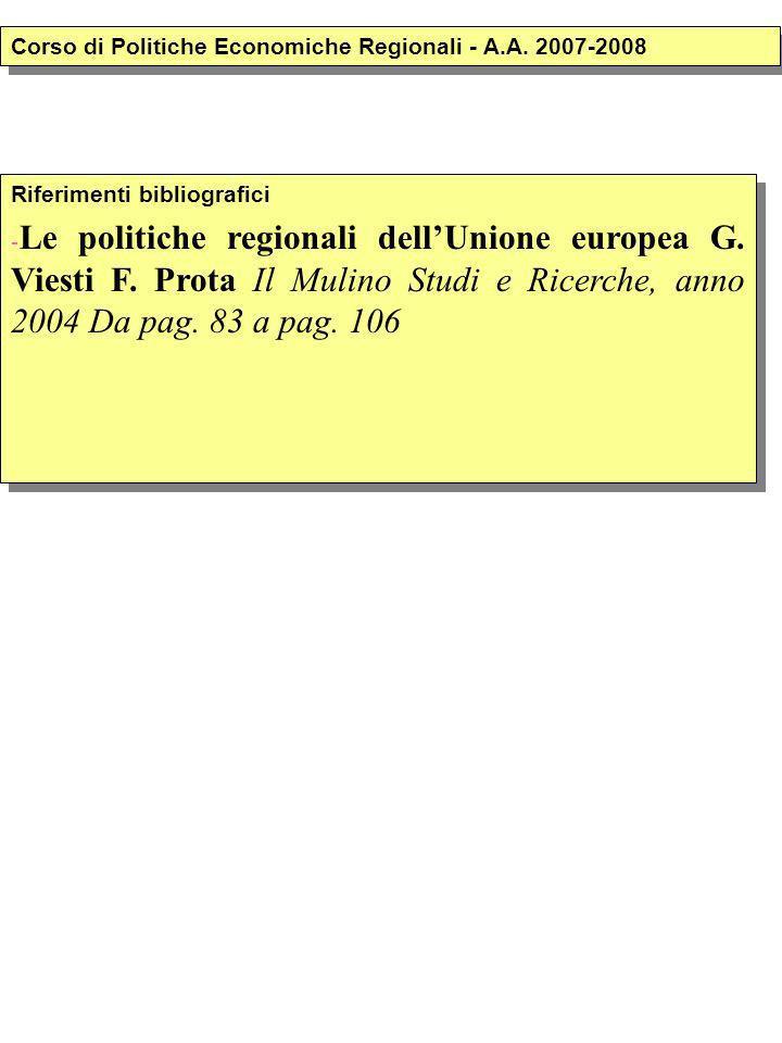 Riferimenti bibliografici - Le politiche regionali dellUnione europea G.