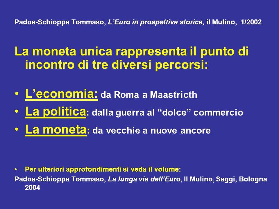 Padoa-Schioppa Tommaso, LEuro in prospettiva storica, il Mulino, 1/2002 La moneta unica rappresenta il punto di incontro di tre diversi percorsi: Leco