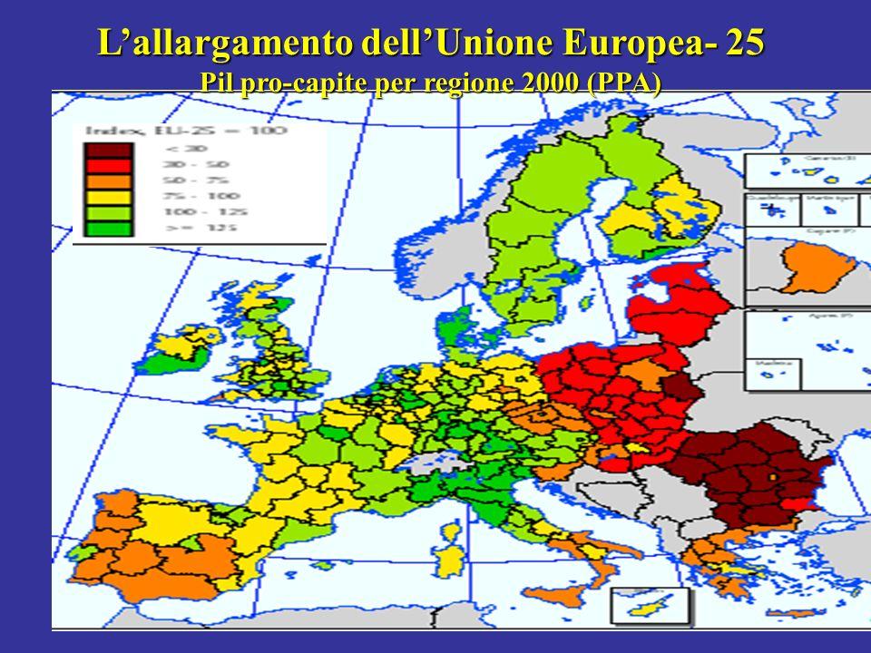 Lallargamento dellUnione Europea- 25 Pil pro-capite per regione 2000 (PPA)