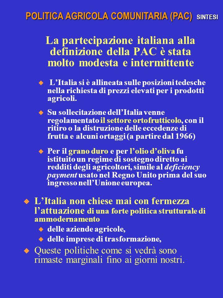 La partecipazione italiana alla definizione della PAC è stata molto modesta e intermittente u LItalia si è allineata sulle posizioni tedesche nella ri