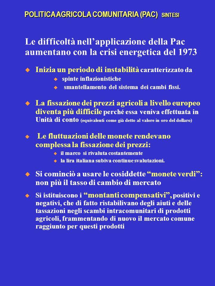 Le difficoltà nellapplicazione della Pac aumentano con la crisi energetica del 1973 Inizia un periodo di instabilità caratterizzato da spinte inflazionistiche smantellamento del sistema dei cambi fissi.