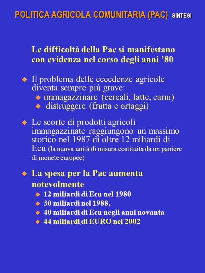 Le difficoltà della Pac si manifestano con evidenza nel corso degli anni 80 Il problema delle eccedenze agricole diventa sempre più grave: u immagazzinare (cereali, latte, carni) u distruggere (frutta e ortaggi) Le scorte di prodotti agricoli immagazzinate raggiungono un massimo storico nel 1987 di oltre 12 miliardi di Ecu (la nuova unità di misura costituita da un paniere di monete europee) La spesa per la Pac aumenta notevolmente u 12 miliardi di Ecu nel 1980 u 30 miliardi nel 1988, u 40 miliardi di Ecu negli anni novanta u 44 miliardi di EURO nel 2002 POLITICA AGRICOLA COMUNITARIA (PAC) SINTESI