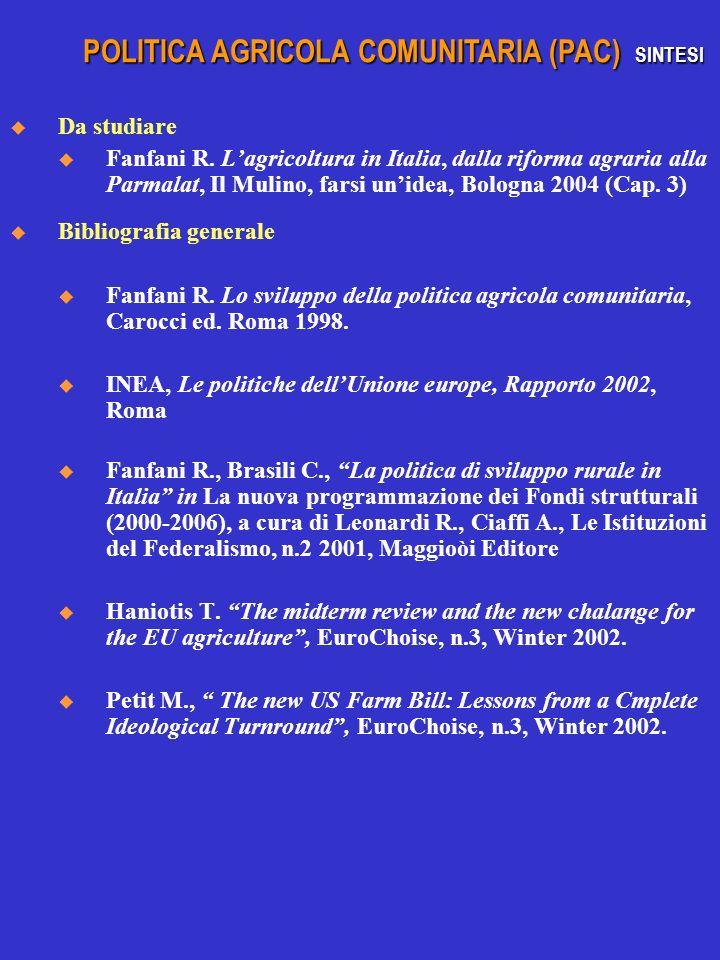 Da studiare u Fanfani R. Lagricoltura in Italia, dalla riforma agraria alla Parmalat, Il Mulino, farsi unidea, Bologna 2004 (Cap. 3) Bibliografia gene