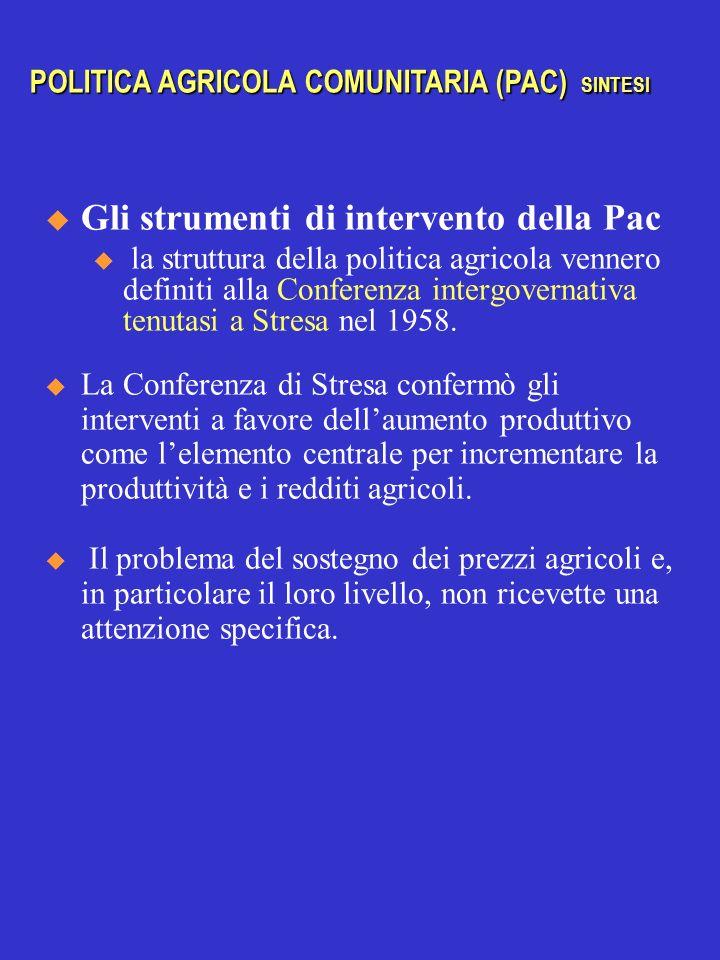 Gli strumenti di intervento della Pac u la struttura della politica agricola vennero definiti alla Conferenza intergovernativa tenutasi a Stresa nel 1