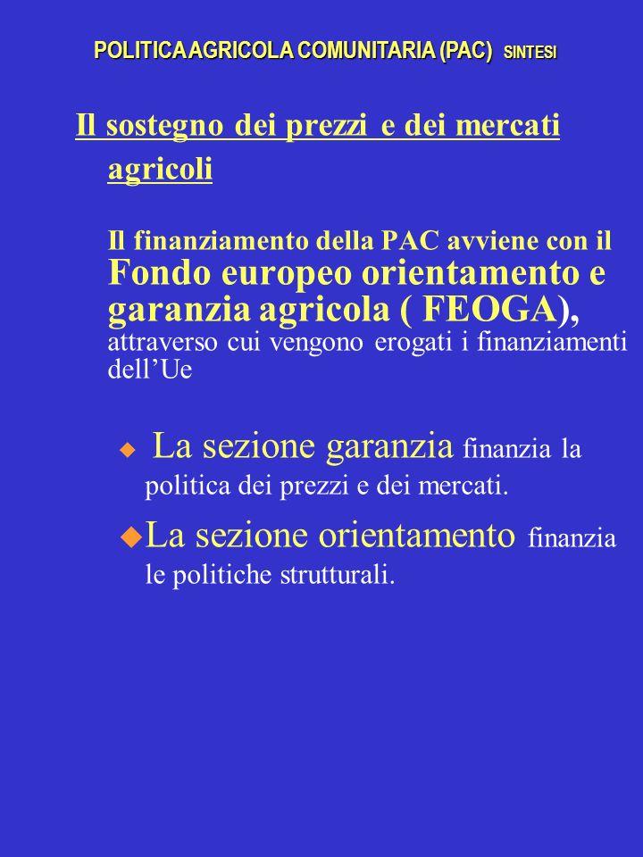 Il sostegno dei prezzi e dei mercati agricoli Il finanziamento della PAC avviene con il Fondo europeo orientamento e garanzia agricola ( FEOGA), attraverso cui vengono erogati i finanziamenti dellUe u La sezione garanzia finanzia la politica dei prezzi e dei mercati.