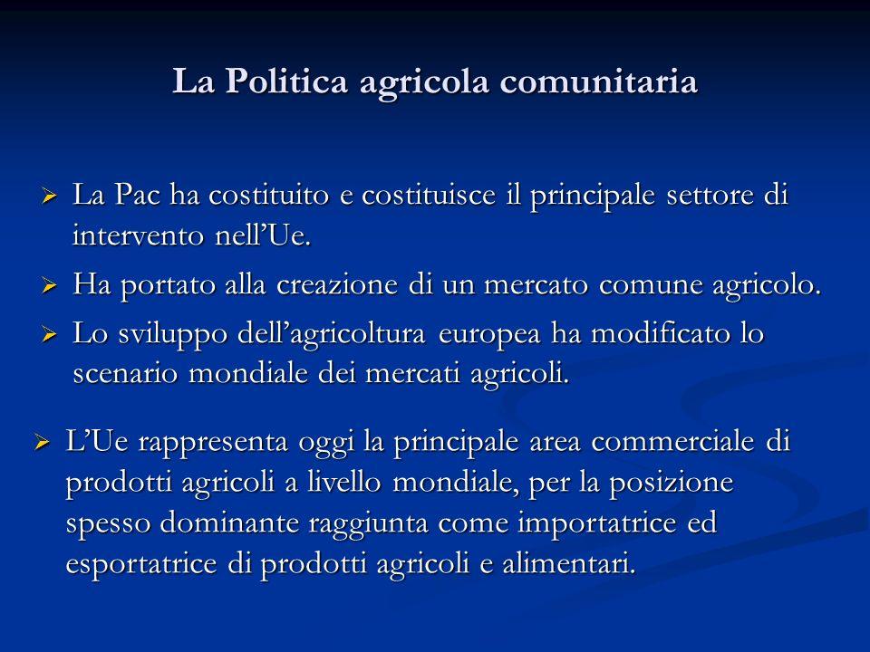 La Politica agricola comunitaria La Pac ha costituito e costituisce il principale settore di intervento nellUe. La Pac ha costituito e costituisce il
