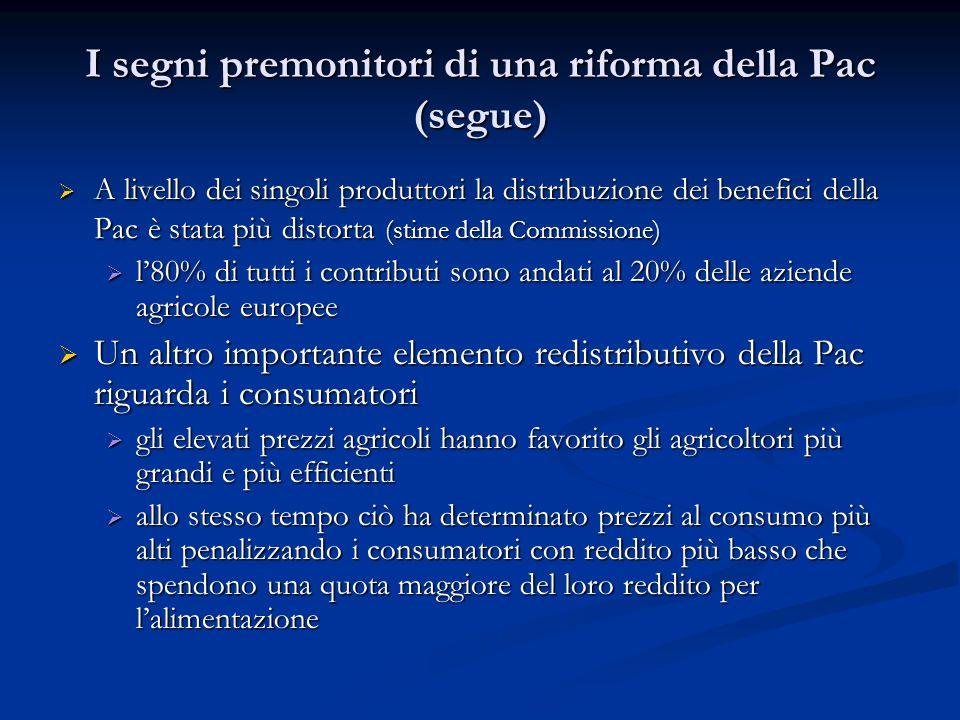I segni premonitori di una riforma della Pac (segue) A livello dei singoli produttori la distribuzione dei benefici della Pac è stata più distorta (st