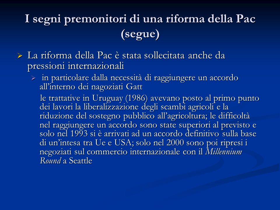 I segni premonitori di una riforma della Pac (segue) La riforma della Pac è stata sollecitata anche da pressioni internazionali La riforma della Pac è