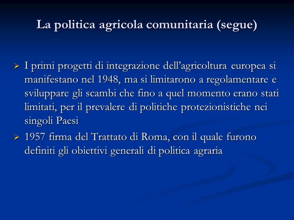 I primi progetti di integrazione dellagricoltura europea si manifestano nel 1948, ma si limitarono a regolamentare e sviluppare gli scambi che fino a