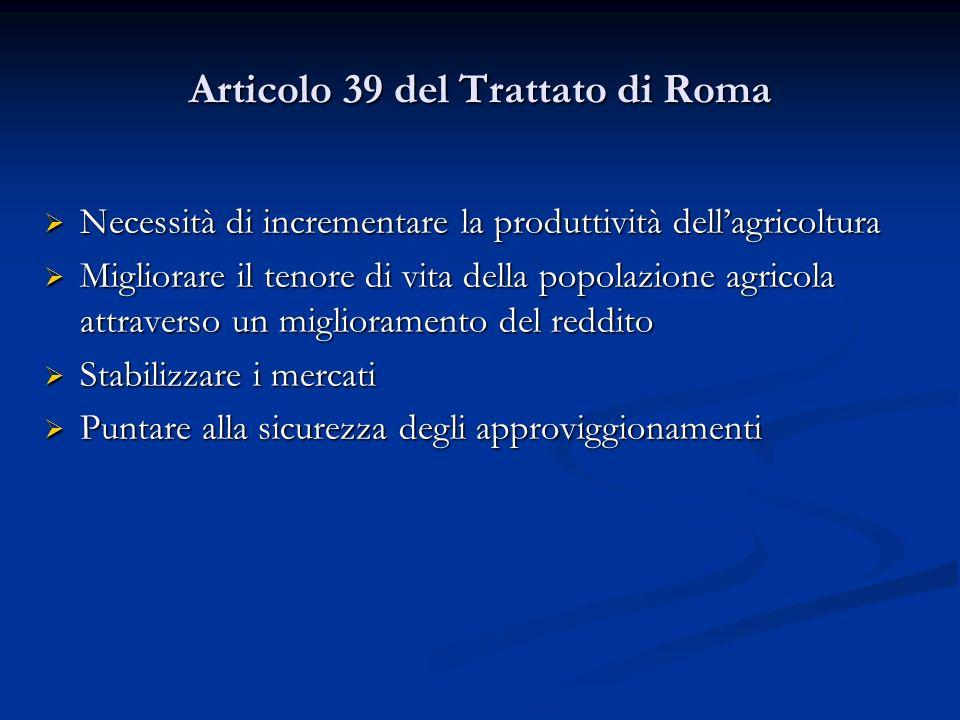 Articolo 39 del Trattato di Roma Necessità di incrementare la produttività dellagricoltura Necessità di incrementare la produttività dellagricoltura M