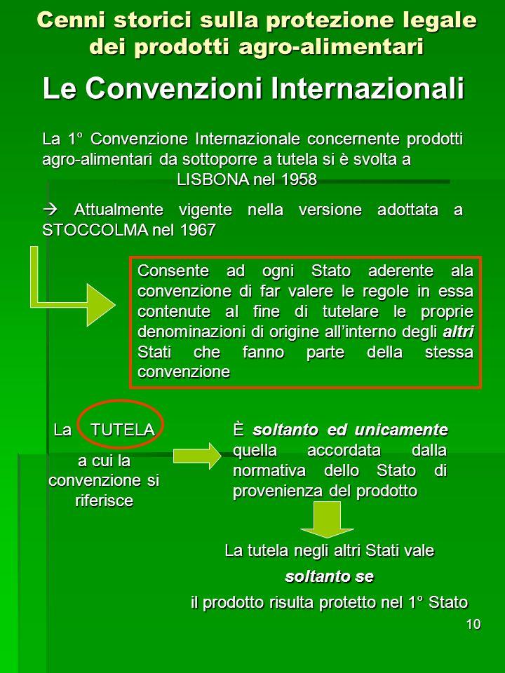 10 Le Convenzioni Internazionali Cenni storici sulla protezione legale dei prodotti agro-alimentari La 1° Convenzione Internazionale concernente prodo