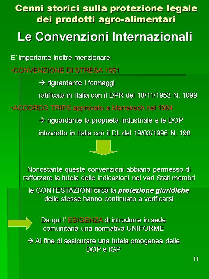 11 Le Convenzioni Internazionali Cenni storici sulla protezione legale dei prodotti agro-alimentari importante inoltre menzionare: E importante inoltr