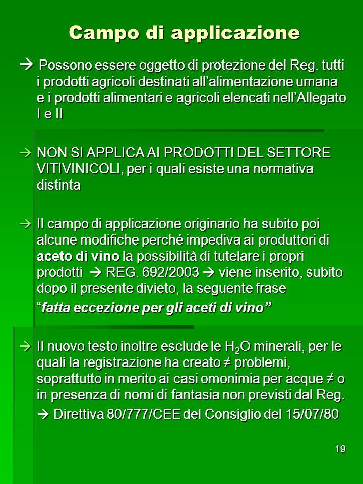 19 Campo di applicazione Possono essere oggetto di protezione del Reg. tutti i prodotti agricoli destinati allalimentazione umana e i prodotti aliment