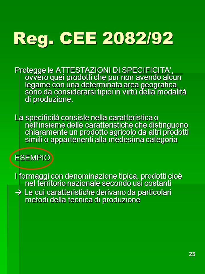 23 Reg. CEE 2082/92 Protegge le ATTESTAZIONI DI SPECIFICITA, ovvero quei prodotti che pur non avendo alcun legame con una determinata area geografica,