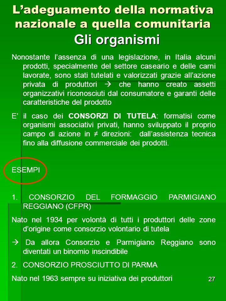 27 Ladeguamento della normativa nazionale a quella comunitaria Gli organismi Nonostante lassenza di una legislazione, in Italia alcuni prodotti, speci