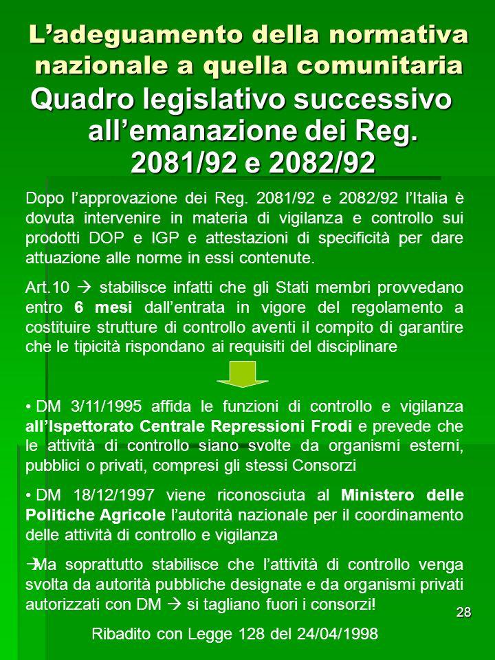 28 Quadro legislativo successivo allemanazione dei Reg. 2081/92 e 2082/92 Ladeguamento della normativa nazionale a quella comunitaria Dopo lapprovazio