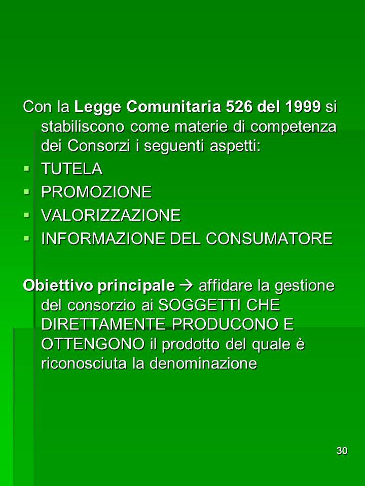 30 Con la Legge Comunitaria 526 del 1999 si stabiliscono come materie di competenza dei Consorzi i seguenti aspetti: TUTELA TUTELA PROMOZIONE PROMOZIO