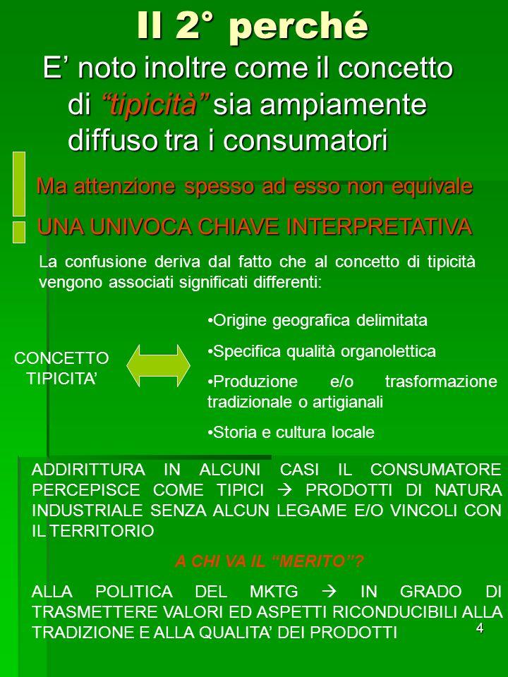 4 Il 2° perché E noto inoltre come il concetto di tipicità sia ampiamente diffuso tra i consumatori Ma attenzione spesso ad esso non equivale UNA UNIV