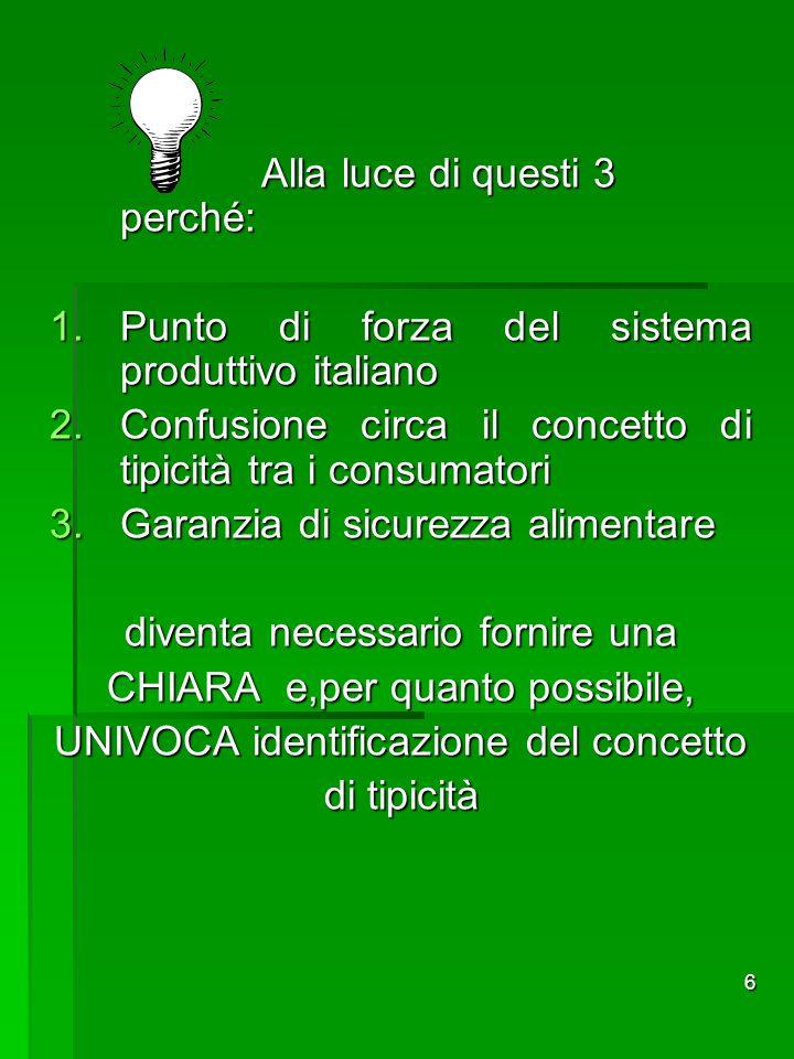 6 Alla luce di questi 3 perché: 1.Punto di forza del sistema produttivo italiano 2.Confusione circa il concetto di tipicità tra i consumatori 3.Garanz