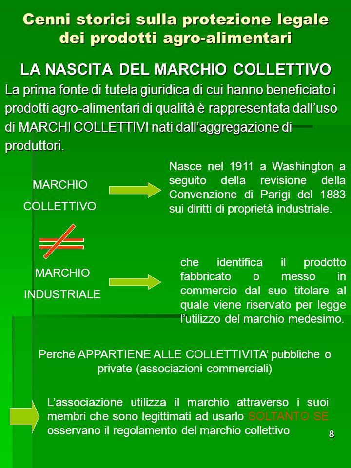 8 Cenni storici sulla protezione legale dei prodotti agro-alimentari LA NASCITA DEL MARCHIO COLLETTIVO La prima fonte di tutela giuridica di cui hanno