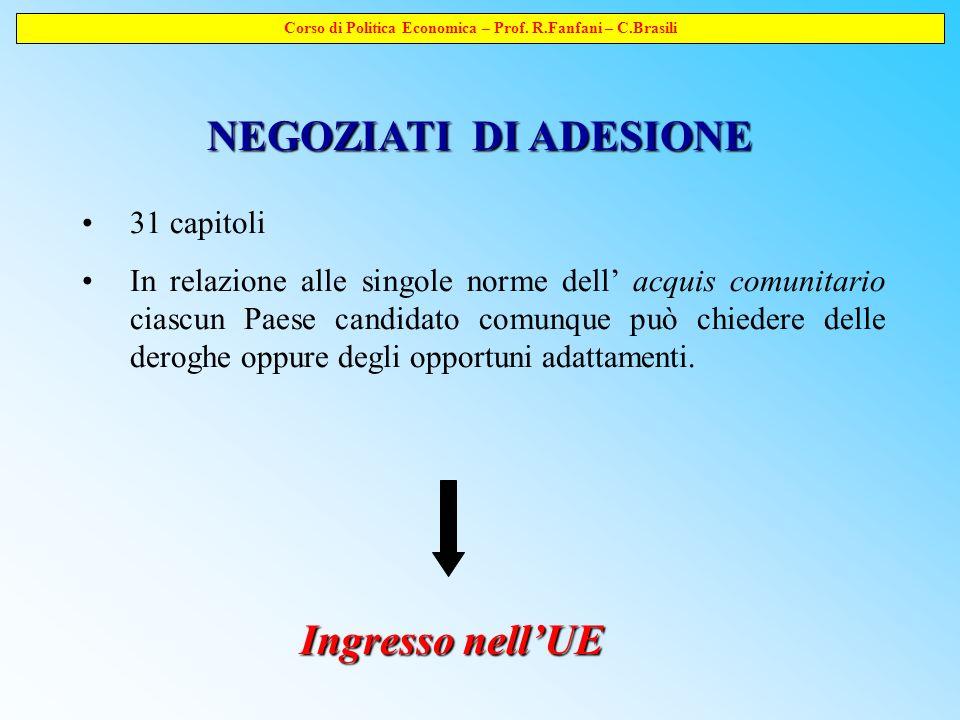 Corso di Politica Economica – Prof.