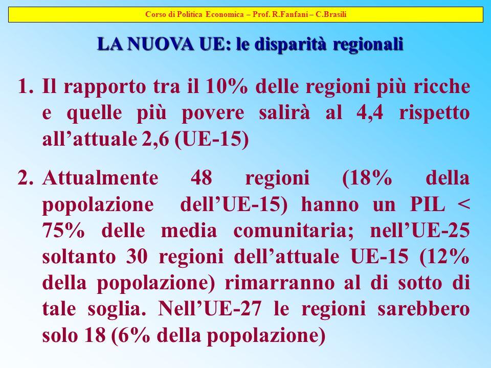 Corso di Politica Economica – Prof. R.Fanfani – C.Brasili LA NUOVA UE: le disparità regionali 1.