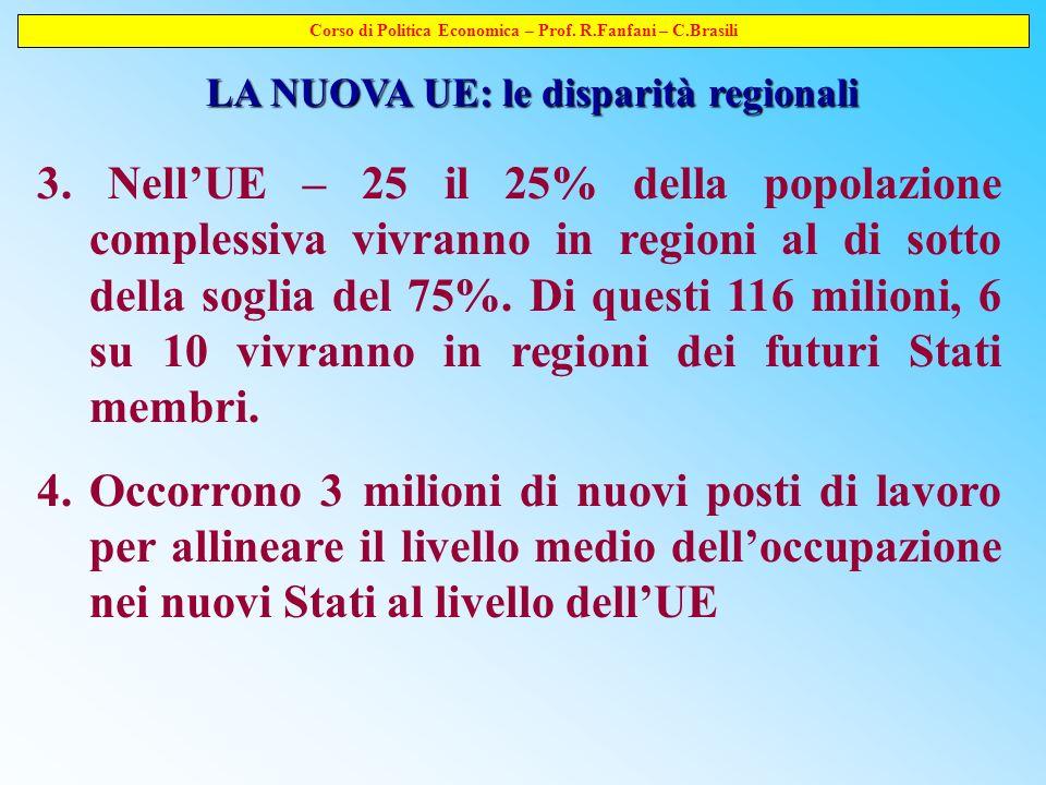 Corso di Politica Economica – Prof. R.Fanfani – C.Brasili LA NUOVA UE: le disparità regionali 3.