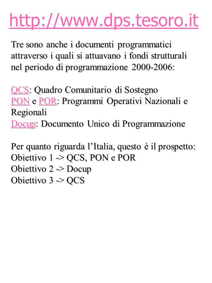 http://www.dps.tesoro.it Tre sono anche i documenti programmatici attraverso i quali si attuavano i fondi strutturali nel periodo di programmazione 20