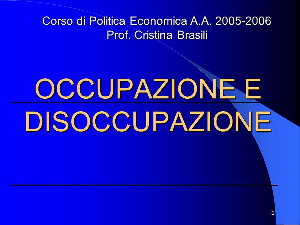 1 OCCUPAZIONE E DISOCCUPAZIONE Corso di Politica Economica A.A. 2005-2006 Prof. Cristina Brasili