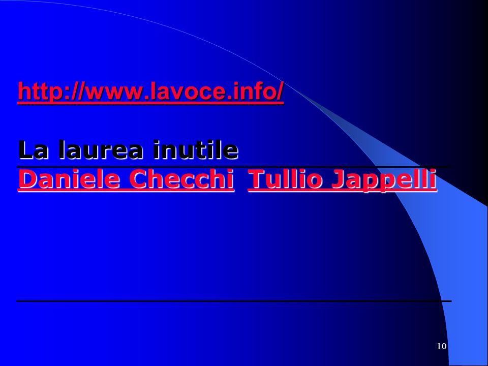 10 http://www.lavoce.info/ http://www.lavoce.info/ La laurea inutile Daniele Checchi Tullio Jappelli Daniele Checchi Tullio Jappelli http://www.lavoce