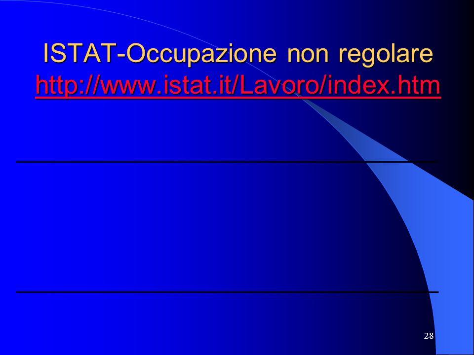 28 ISTAT-Occupazione non regolare http://www.istat.it/Lavoro/index.htm http://www.istat.it/Lavoro/index.htm