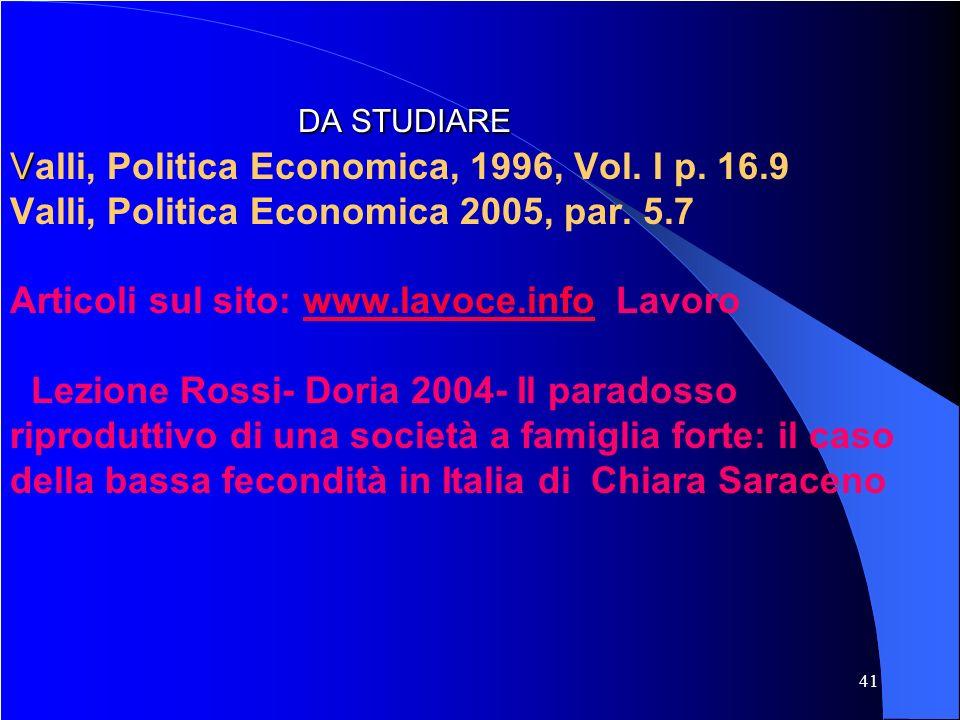 41 DA STUDIARE V DA STUDIARE Valli, Politica Economica, 1996, Vol. I p. 16.9 Valli, Politica Economica 2005, par. 5.7 Articoli sul sito: www.lavoce.in