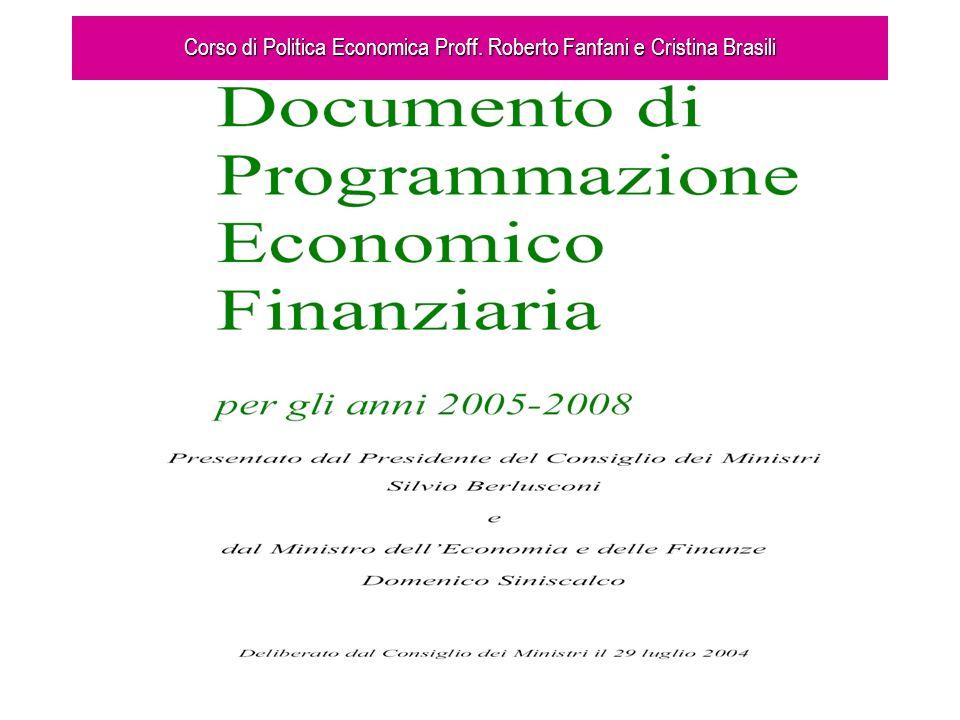 Corso di Politica Economica Proff. Roberto Fanfani e Cristina Brasili