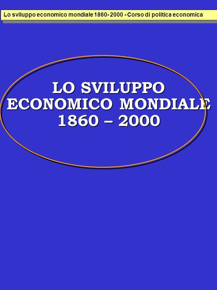 LO SVILUPPO ECONOMICO MONDIALE 1860 – 2000 Lo sviluppo economico italiana 1860- 2000 - Corso di politica economica Lo sviluppo economico mondiale 1860- 2000 - Corso di politica economica
