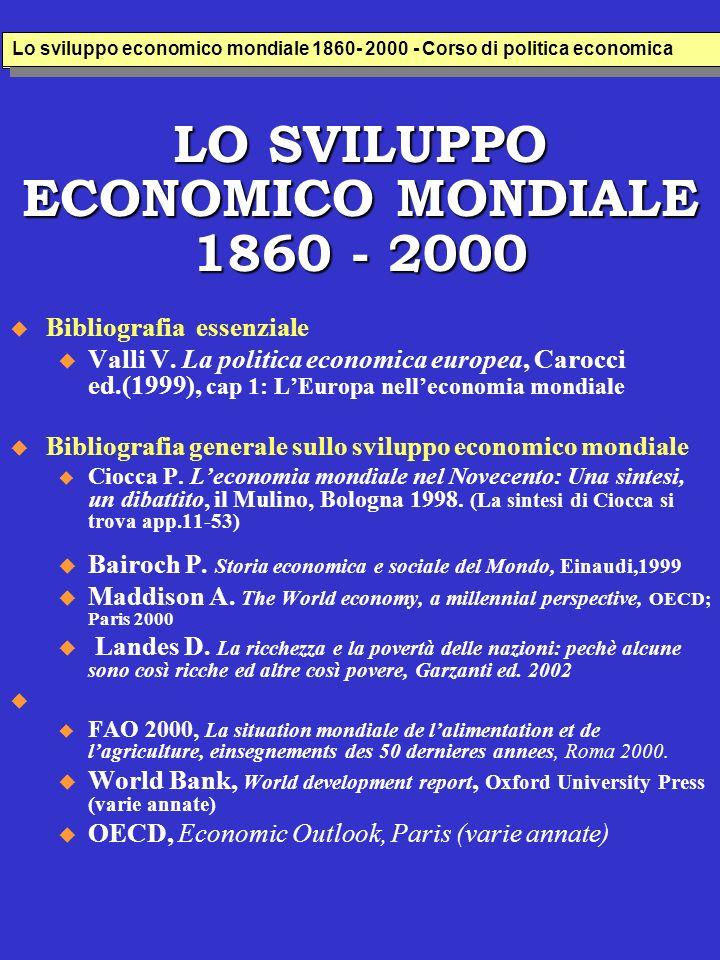 LO SVILUPPO ECONOMICO MONDIALE 1860 - 2000 Bibliografia essenziale u Valli V.