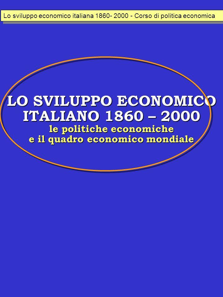 LO SVILUPPO ECONOMICO ITALIANO 1860 – 2000 le politiche economiche e il quadro economico mondiale Lo sviluppo economico italiana 1860- 2000 - Corso di politica economica
