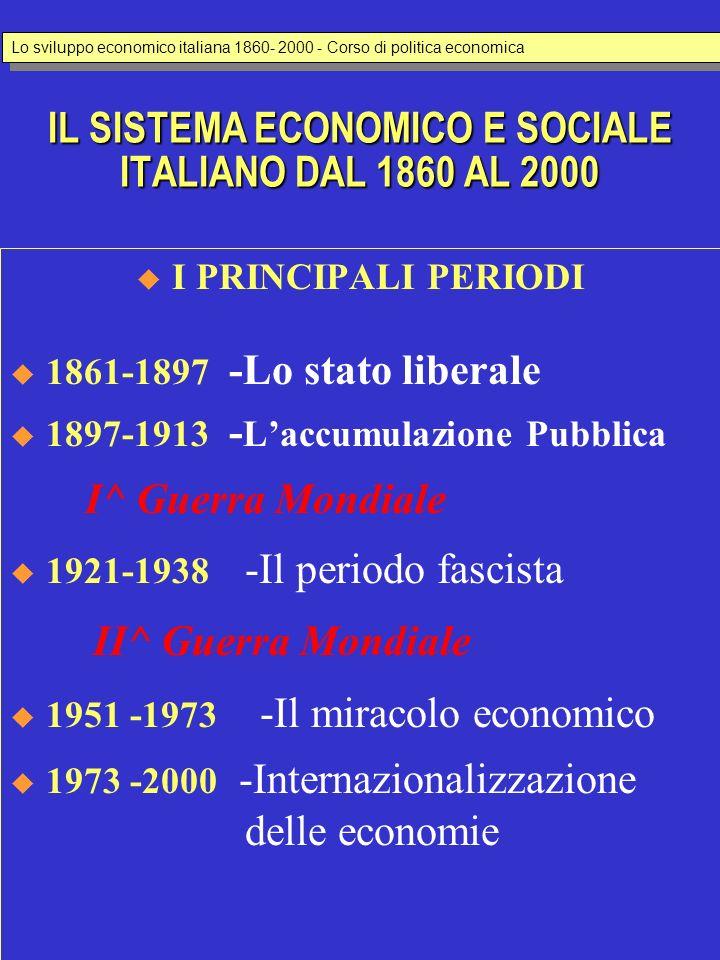 IL SISTEMA ECONOMICO E SOCIALE ITALIANO DAL 1860 AL 2000 I PRINCIPALI PERIODI 1861-1897 -Lo stato liberale 1897-1913 - Laccumulazione Pubblica I^ Guer