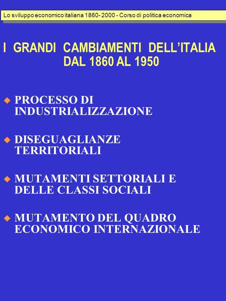 I GRANDI CAMBIAMENTI DELLITALIA DAL 1860 AL 1950 PROCESSO DI INDUSTRIALIZZAZIONE DISEGUAGLIANZE TERRITORIALI MUTAMENTI SETTORIALI E DELLE CLASSI SOCIALI MUTAMENTO DEL QUADRO ECONOMICO INTERNAZIONALE Lo sviluppo economico italiana 1860- 2000 - Corso di politica economica