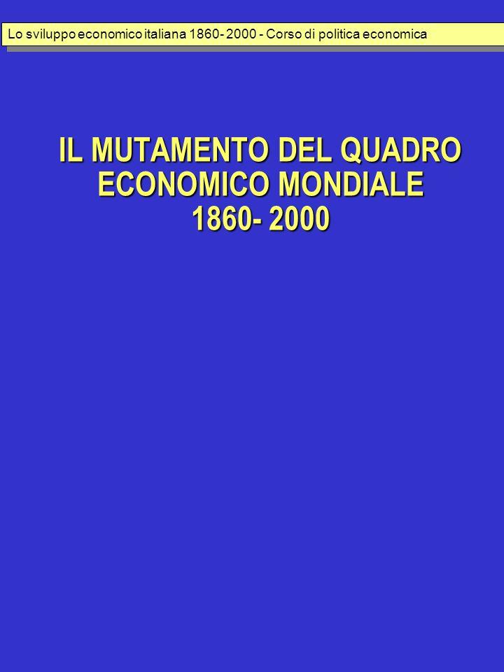 IL MUTAMENTO DEL QUADRO ECONOMICO MONDIALE 1860- 2000 Lo sviluppo economico italiana 1860- 2000 - Corso di politica economica