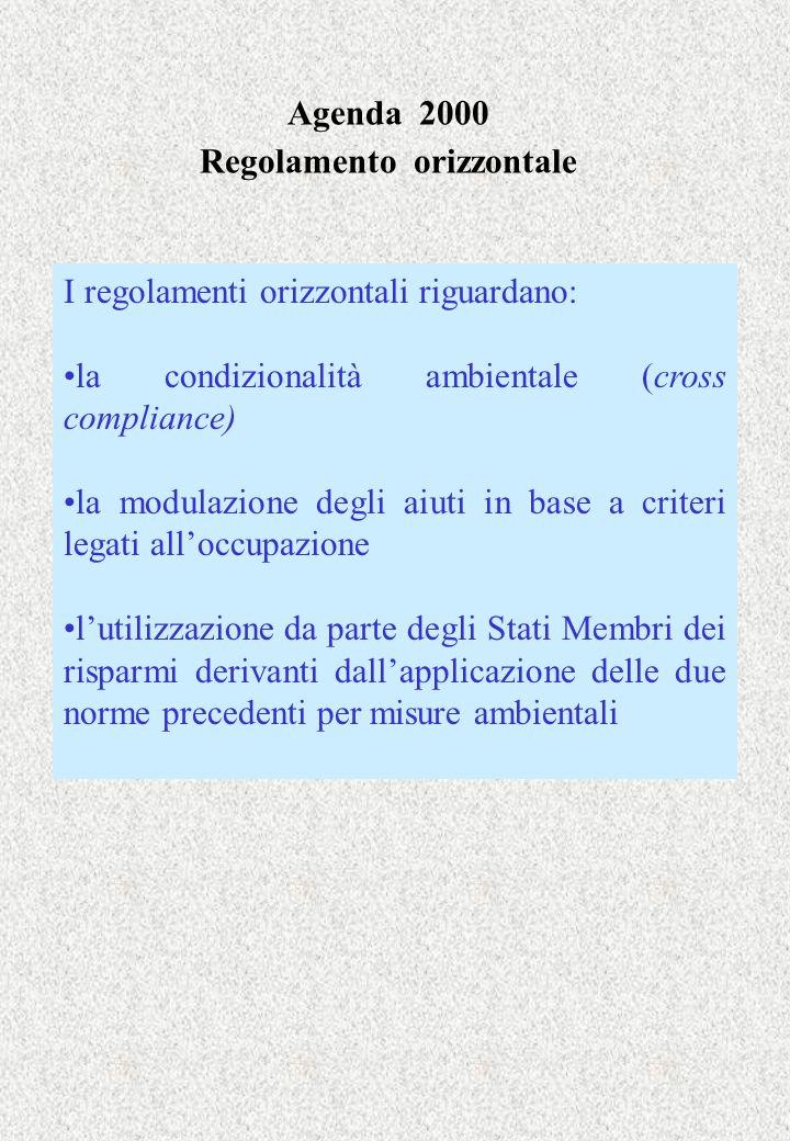 Agenda 2000 Regolamento orizzontale I regolamenti orizzontali riguardano: la condizionalità ambientale (cross compliance) la modulazione degli aiuti i