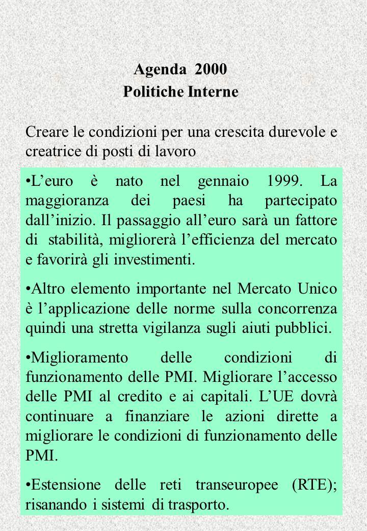 Agenda 2000 Politiche Interne Creare le condizioni per una crescita durevole e creatrice di posti di lavoro Leuro è nato nel gennaio 1999. La maggiora