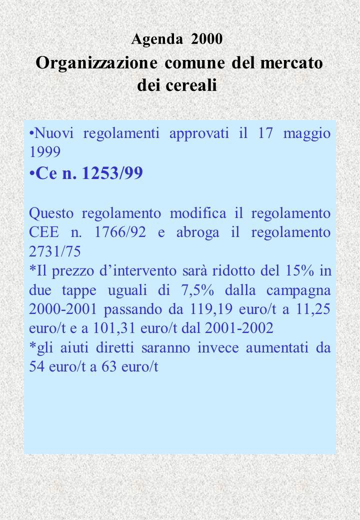 Agenda 2000 Organizzazione comune del mercato dei cereali Nuovi regolamenti approvati il 17 maggio 1999 Ce n. 1253/99 Questo regolamento modifica il r