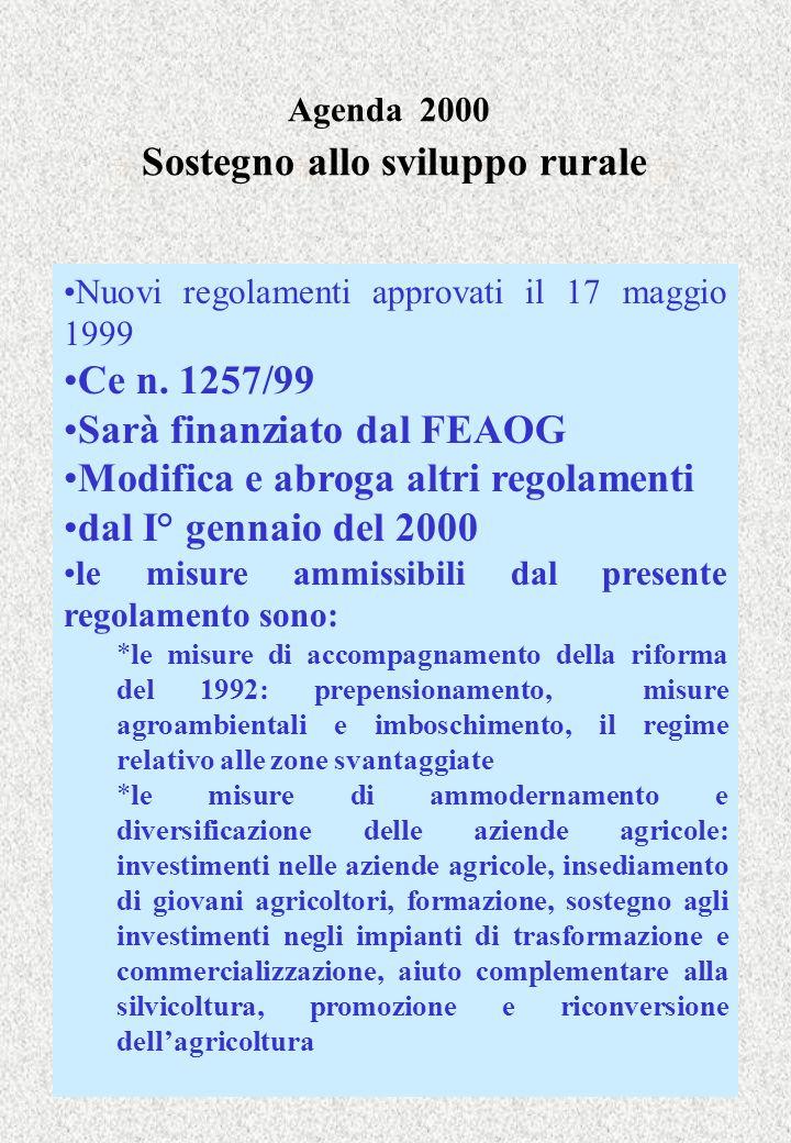 Agenda 2000 Sostegno allo sviluppo rurale Nuovi regolamenti approvati il 17 maggio 1999 Ce n. 1257/99 Sarà finanziato dal FEAOG Modifica e abroga altr