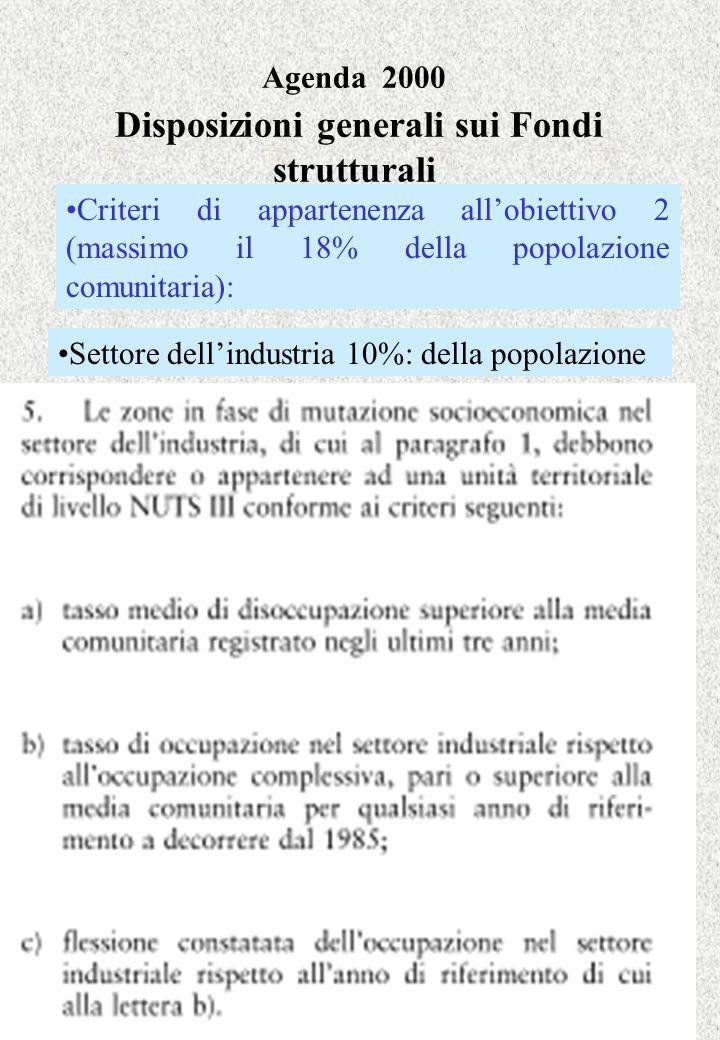 Agenda 2000 Disposizioni generali sui Fondi strutturali Settore dellindustria 10%: della popolazione Criteri di appartenenza allobiettivo 2 (massimo i