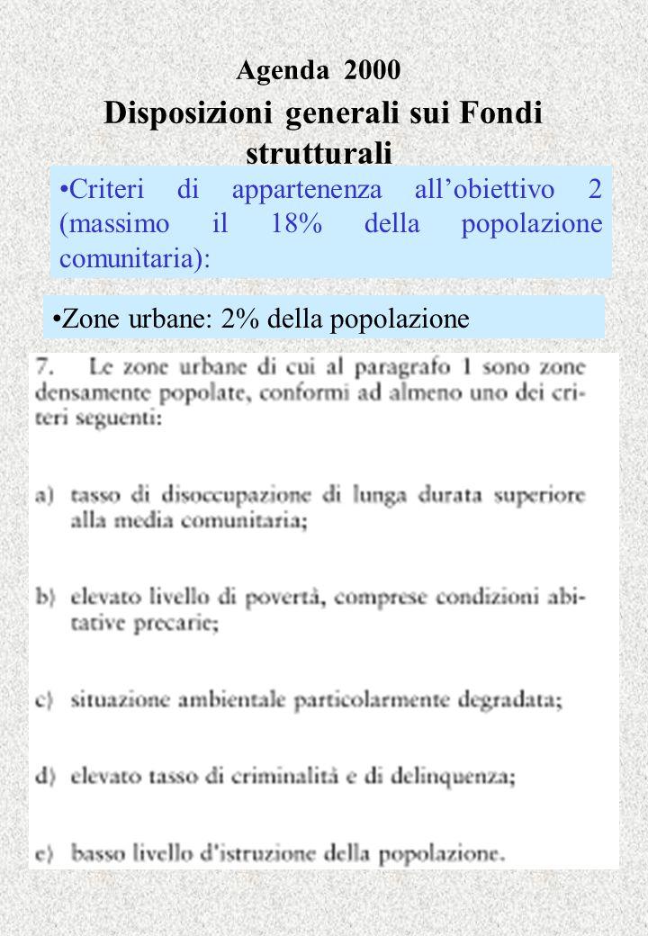Agenda 2000 Disposizioni generali sui Fondi strutturali Zone urbane: 2% della popolazione Criteri di appartenenza allobiettivo 2 (massimo il 18% della