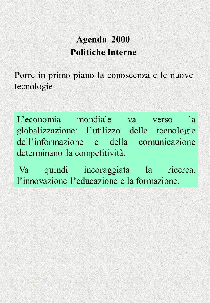 Agenda 2000 Politiche Interne Porre in primo piano la conoscenza e le nuove tecnologie Leconomia mondiale va verso la globalizzazione: lutilizzo delle